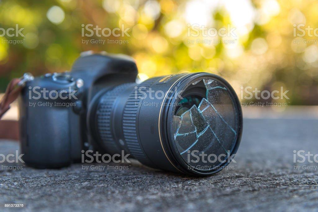Filter camera lens broken stock photo