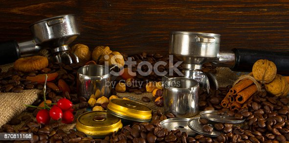 istock Filter holder of professional coffee machine with tamped coffee 870811168