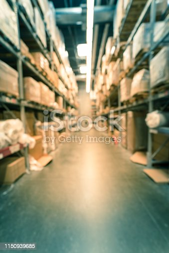 istock Filtered image blurry background variety of mattress on shelves at furniture warehouse 1150939685