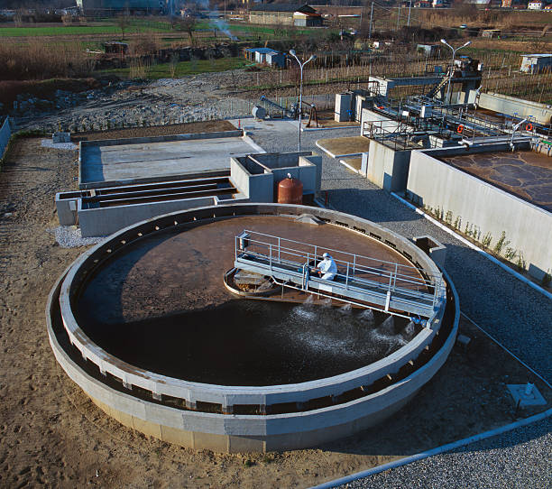 Filtering tank of industrial sewage treatmen plant, aerial view stock photo