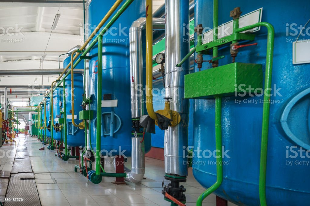 Filters for industrial water treatment stock photo