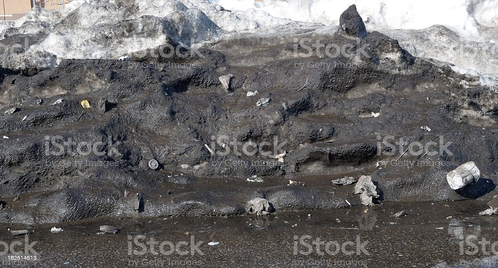 Filthy Snowbank stock photo