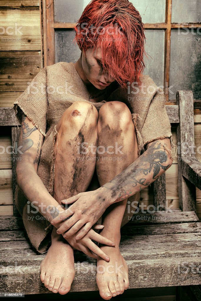 Filthy Vagrant Woman stock photo