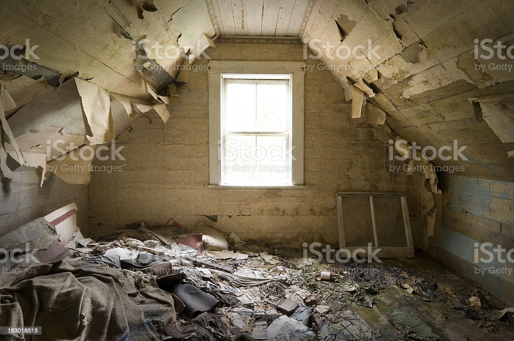 Filty abandoned room stock photo