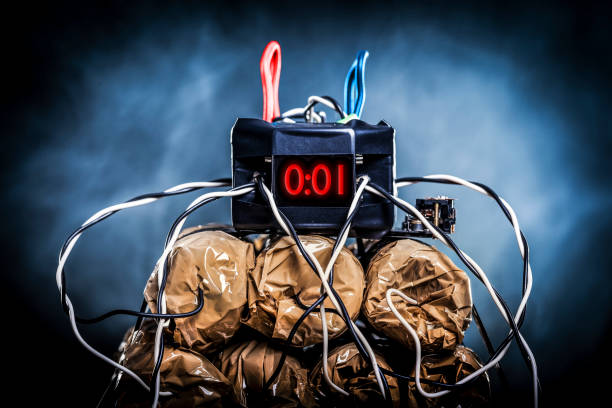 Final countdown Homemade bomb - plastic explosives and counter on one second to explosion. explosive stock pictures, royalty-free photos & images