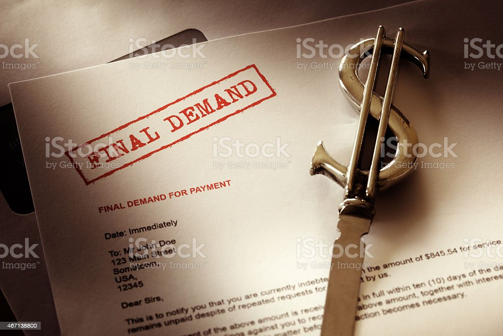 Final demand notice stock photo
