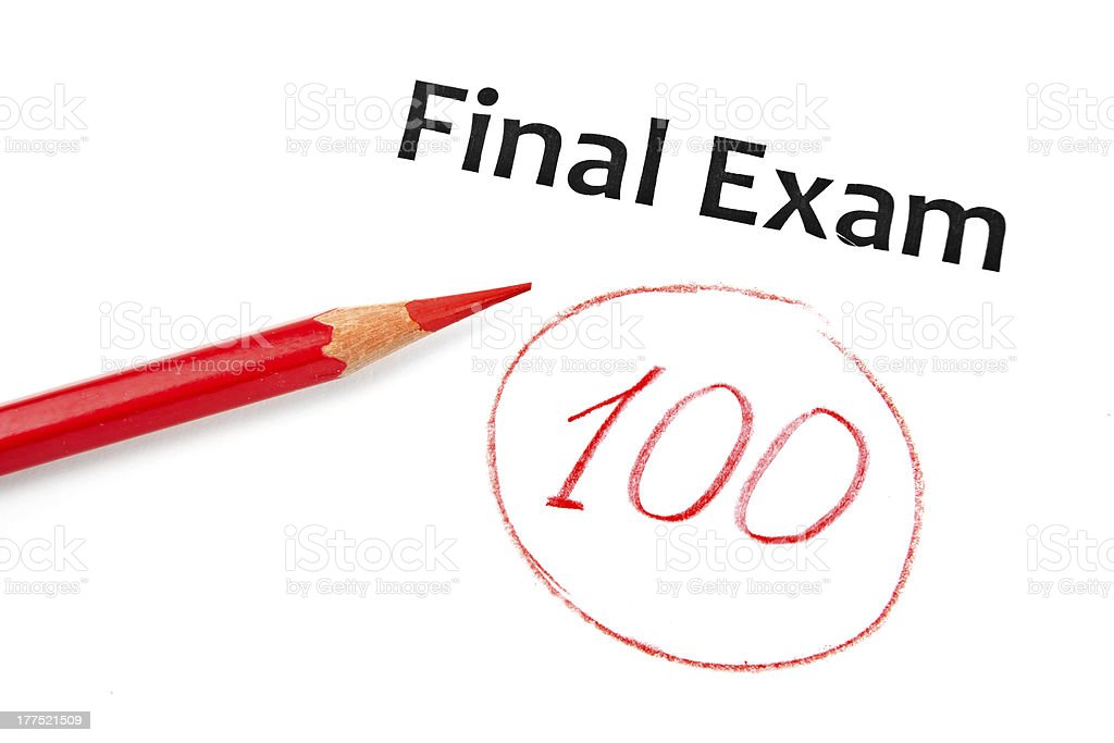 Final Exam Marked With 100% - 免版稅成績表圖庫照片