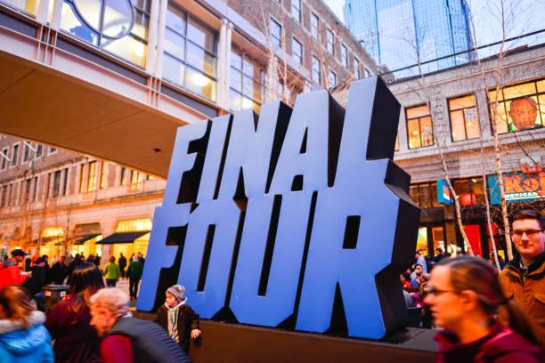 ncaa final four basketball tournament signage à minneapolis minnesota - ncaa photos et images de collection