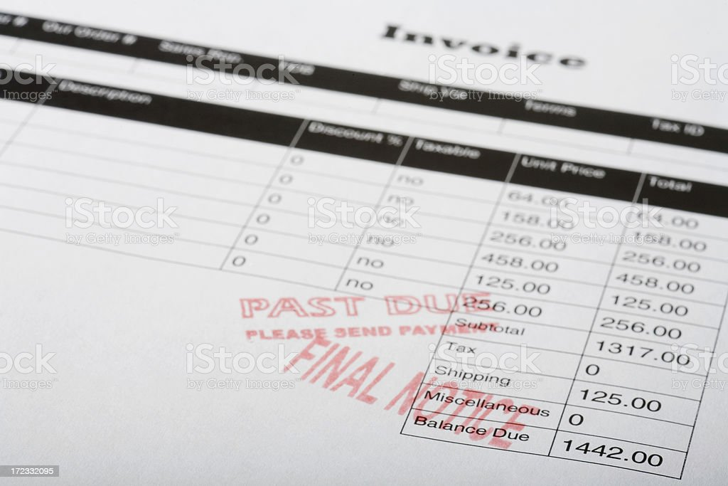 Final notice and past due royalty-free stock photo