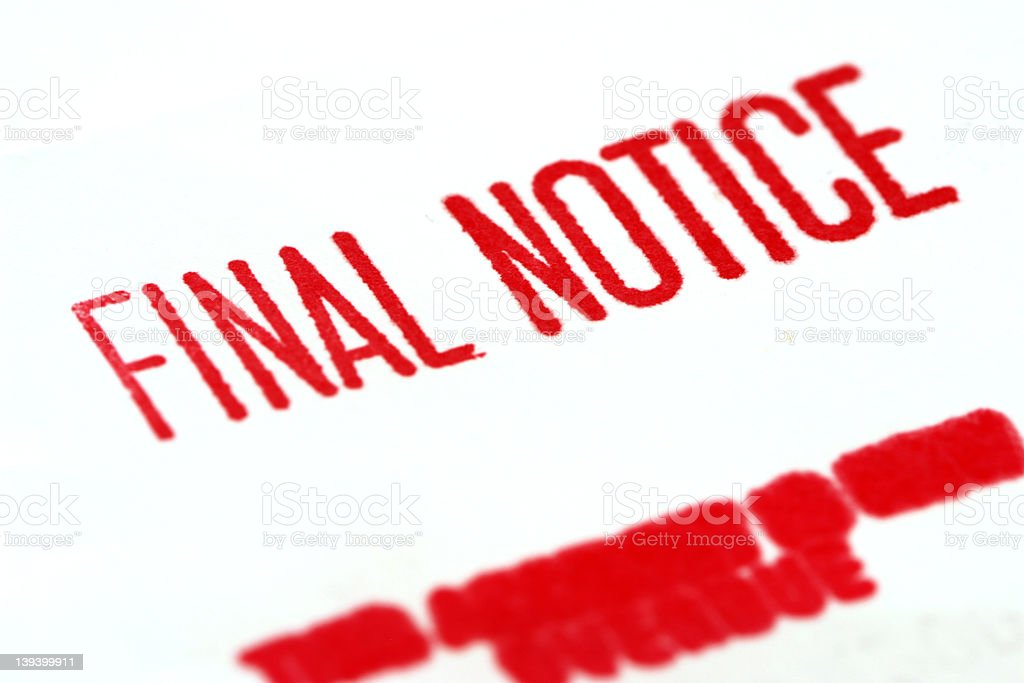Final Notice Demand royalty-free stock photo