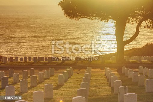 The Graves on the Sand Diego Military Cemetery look out over the Pacific Ocean