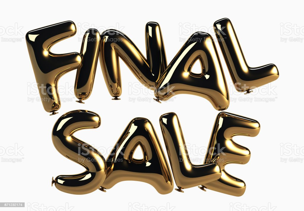Final Sale made of Glossy Helium Balloons stock photo
