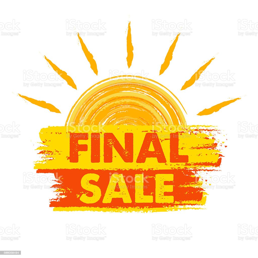 final sale with sun sign, drawn label stock photo