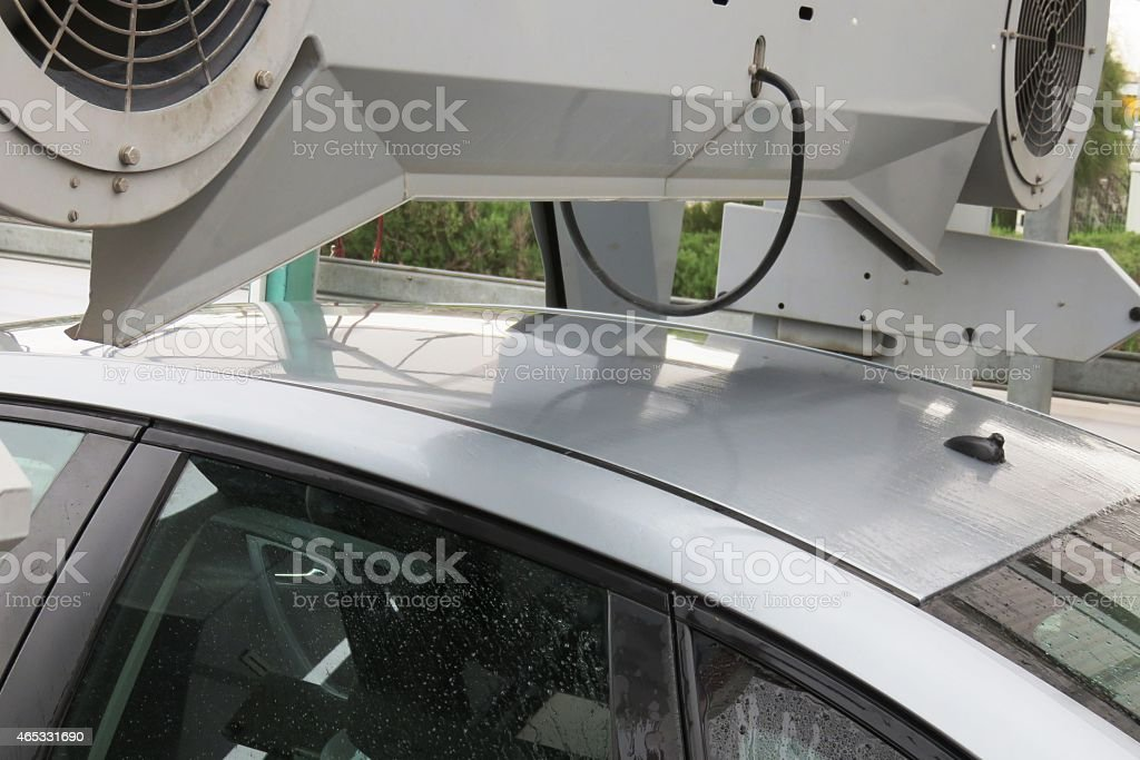 Final stage washing a car - air drying stock photo