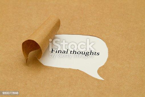 Final thoughts written under torn paper.