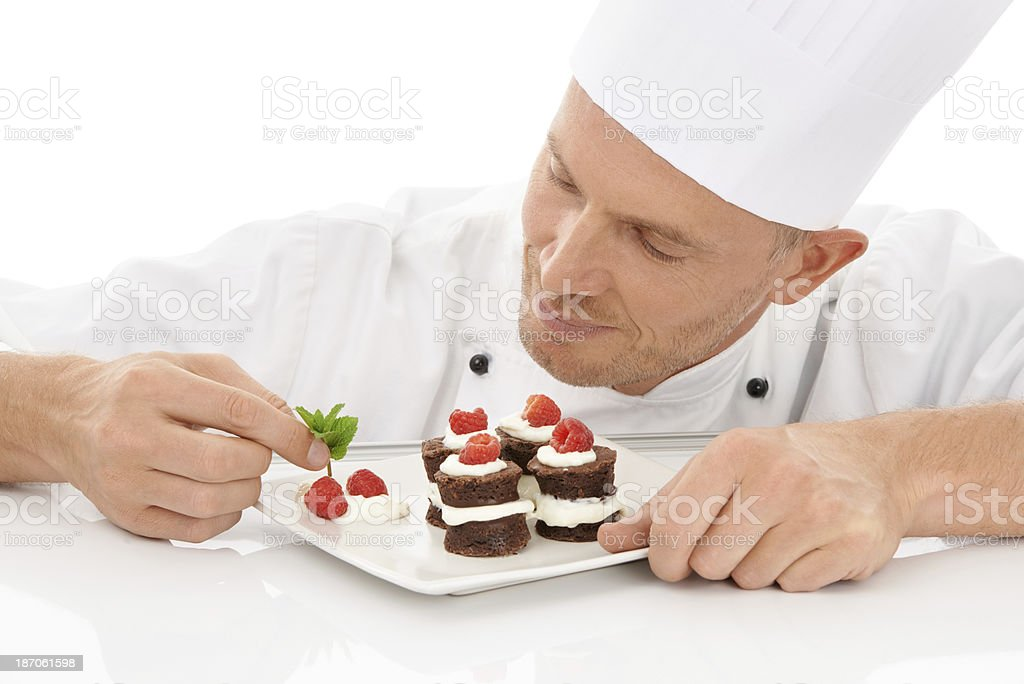 Final touch to his master dessert royalty-free stock photo