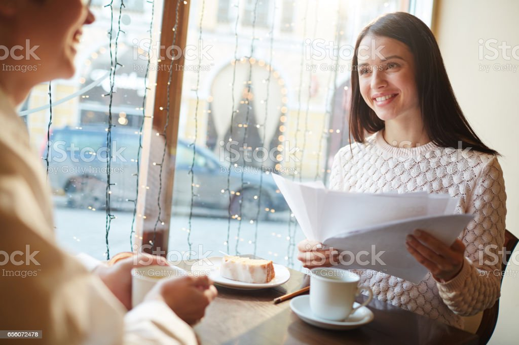 Finalizing Deal in Cafe stock photo