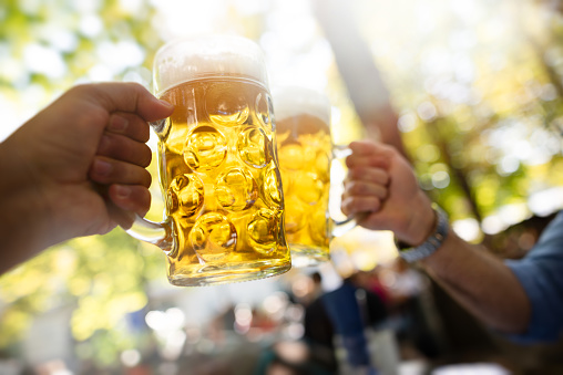 two young men drinking beer in a Munich beer garden