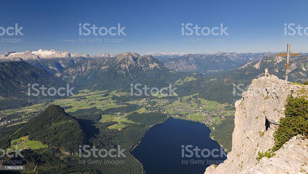 Finally reached the Top. Mountain Summit-Cross Austrian Alps Panorama (XXXL) stock photo