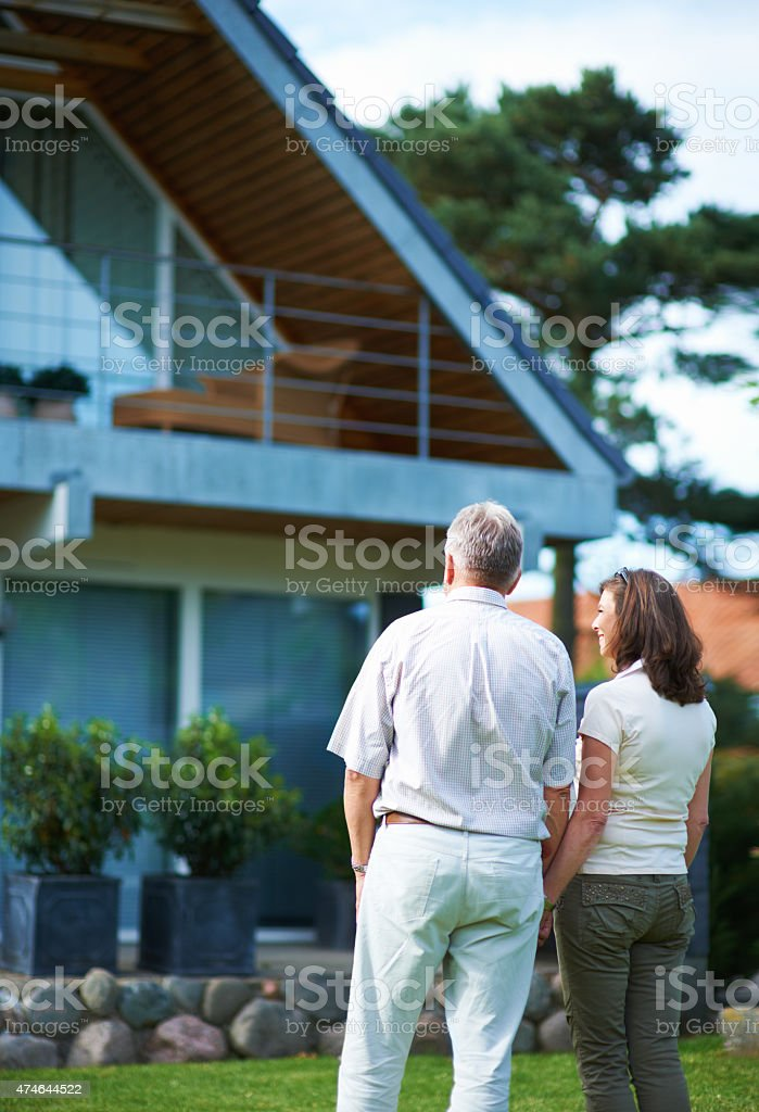 Finally we can afford our dream home! stock photo