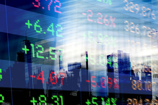 Finance. Abstract office Buildings and Trading Screen Data New York Financial district with Financial data on trading screens. Light reflections from windows. uk stock pictures, royalty-free photos & images