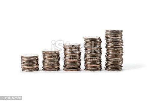 coins isolated on white background. Finance and banking concept.
