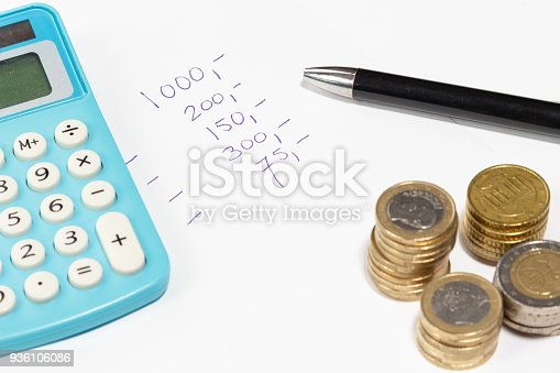 864278180istockphoto finance and business and banking concept with calculator pen rows of coins and financial sheet 936106086