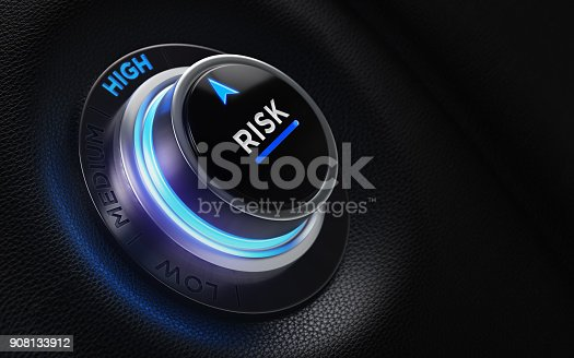 istock Finance And Investment Concept - Risk Labeled Button On A Car Dashboard 908133912