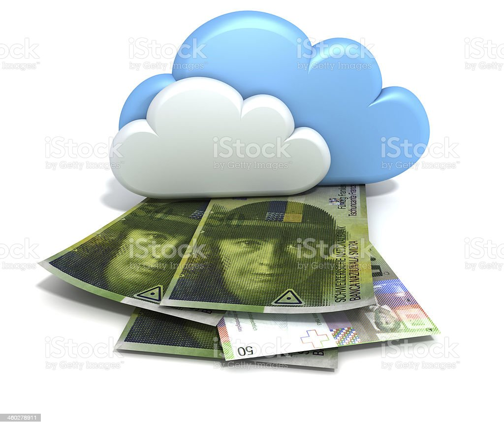 Finance and profits for Cloud Computing. Swiss Francs. royalty-free stock photo