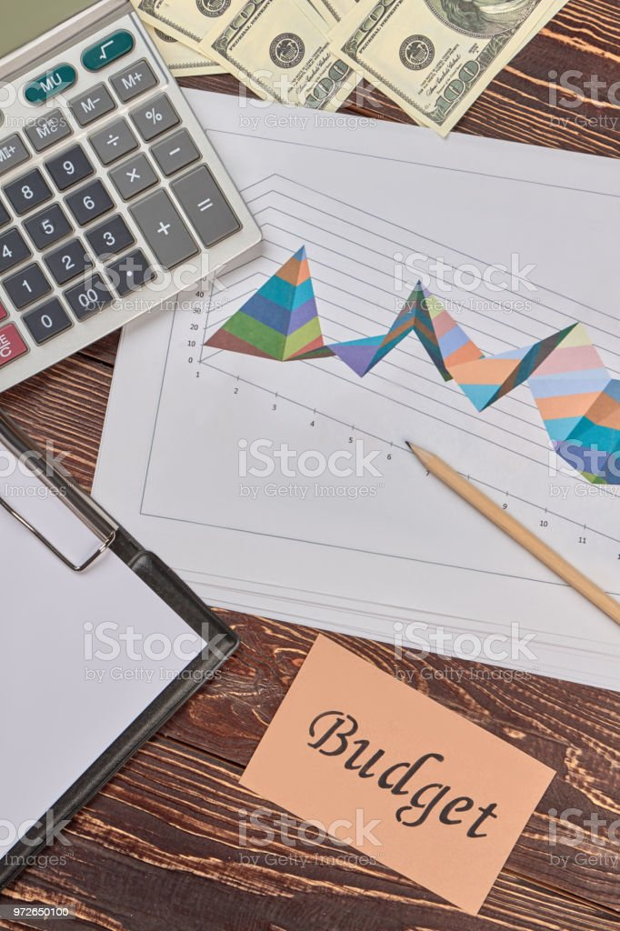 Finance and statistic analysing attributes, flat lay. stock photo