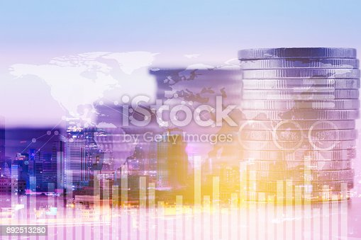istock Finance and stock, banking and investment with graph and chart analysis cost, double exporsure of coin and city, business concept. 892513280