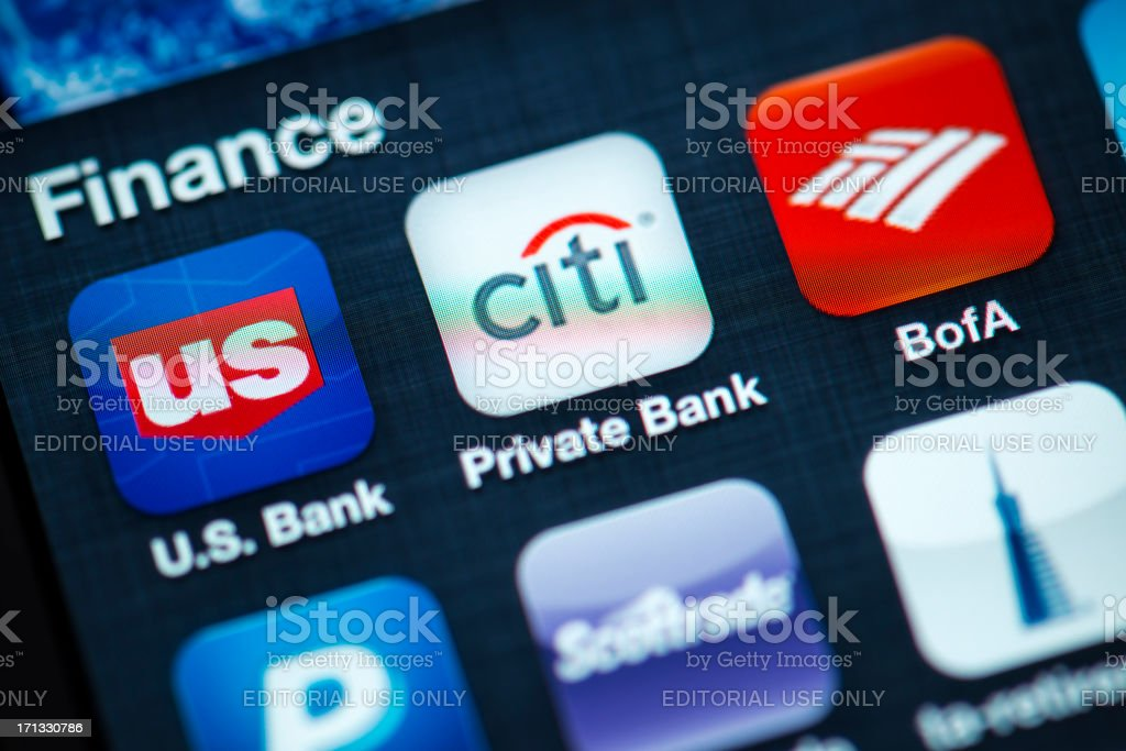 """Finance Apps on Apple iPhone 4s Screen """"Portland, Oregon, USA - August 17, 2012: A close up of an Apple iPhone 4s screen showing various banking apps, including including U.S. Bank, CitiBank, Bank of America. Featuring high resolution Retina Display, Apple iPhone 4s is one of the most wanted and powerful smartphone on the world wide."""" Apple Computers Stock Photo"""