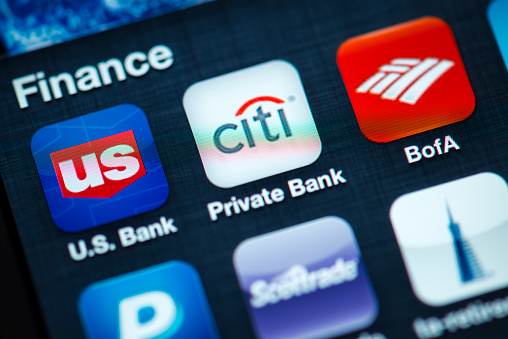 Finance Apps On Apple Iphone 4s Screen Stock Photo - Download Image Now