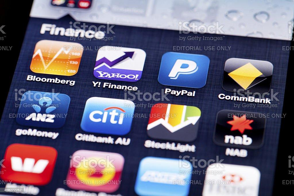 Finance apps on iOS stock photo