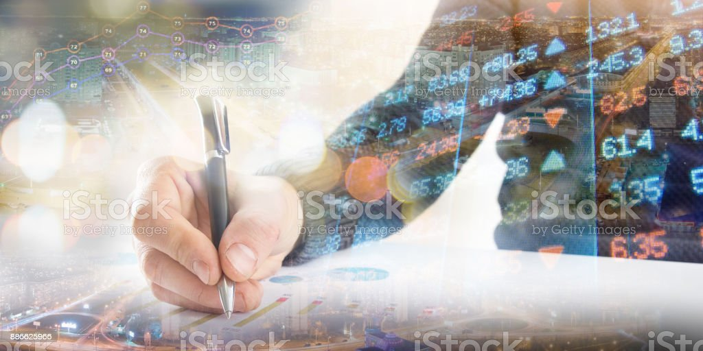 Finance, banking concept. businessman signs documents. Abstract image of Financial system with selective focus, toned, double exposure stock photo