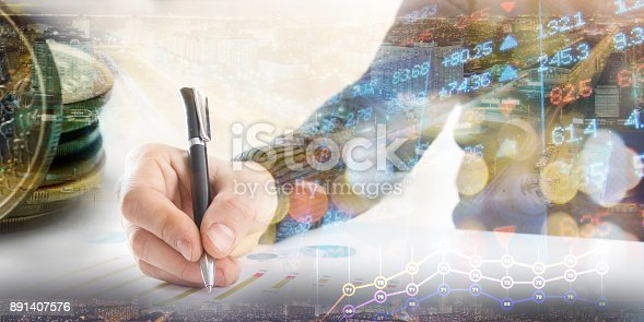 istock Finance, banking concept. businessman signs documents. Abstract image of Financial system with selective focus, toned, double exposure 891407576