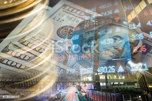 istock Finance, banking concept. Euro coins, us dollar banknote close-up. Abstract image of Financial system with selective focus, toned, double exposure 878508512