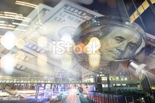 istock Finance, banking concept. Euro coins, us dollar banknote close-up. Abstract image of Financial system with selective focus, toned, double exposure 880109072