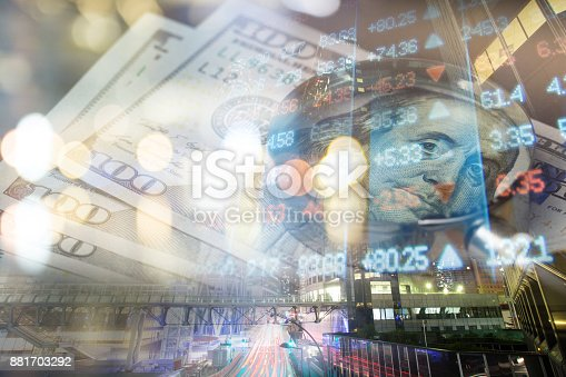 istock Finance, banking concept. Euro coins, us dollar banknote close-up. Abstract image of Financial system with selective focus, toned, double exposure 881703292