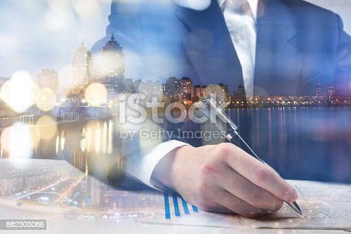 istock Finance, banking concept. Euro coins, us dollar banknote close-up. Abstract image of Financial system with selective focus, toned, double exposure 882303086