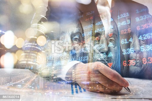 istock Finance, banking concept. Euro coins, us dollar banknote close-up. Abstract image of Financial system with selective focus, toned, double exposure 882303214