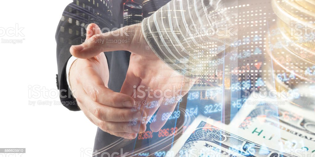 Finance, banking concept. Handshake. Abstract image of Financial system with selective focus, toned, double exposure stock photo