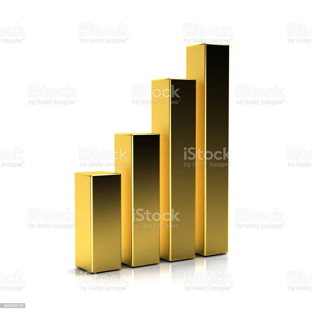 Finance Bars. Golden Colors. 3D Rendering Illustration stock photo