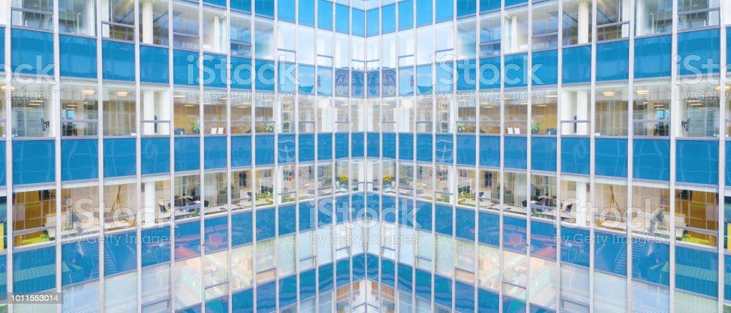 Finance buildings reflecting stock photo