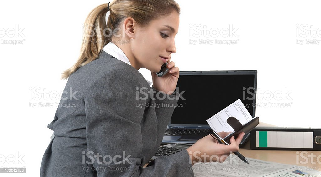finance, business woman and timeplaner stock photo