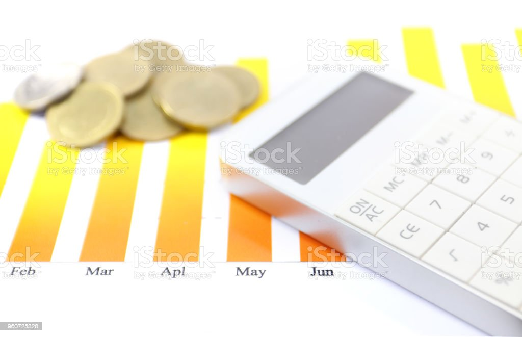 finance calculator with gold coin investment with monthly graph on isolated white background stock photo