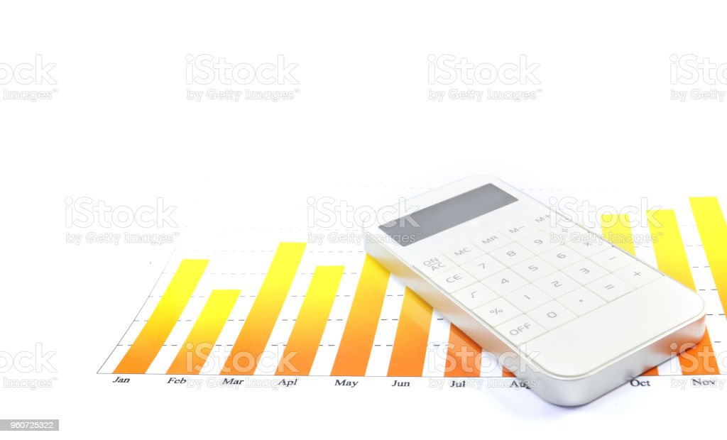 finance calculator with monthly graph on isolated white background stock photo