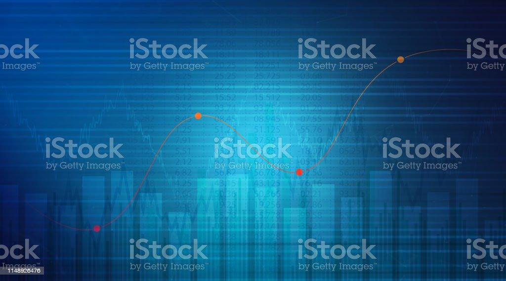 Stock Market and Exchange, Graph, Stock Certificate, Growth, Blue