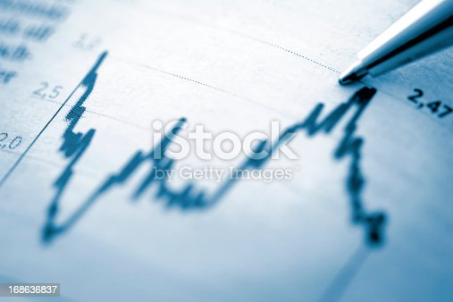 istock Finance chart with high peak on document 168636837