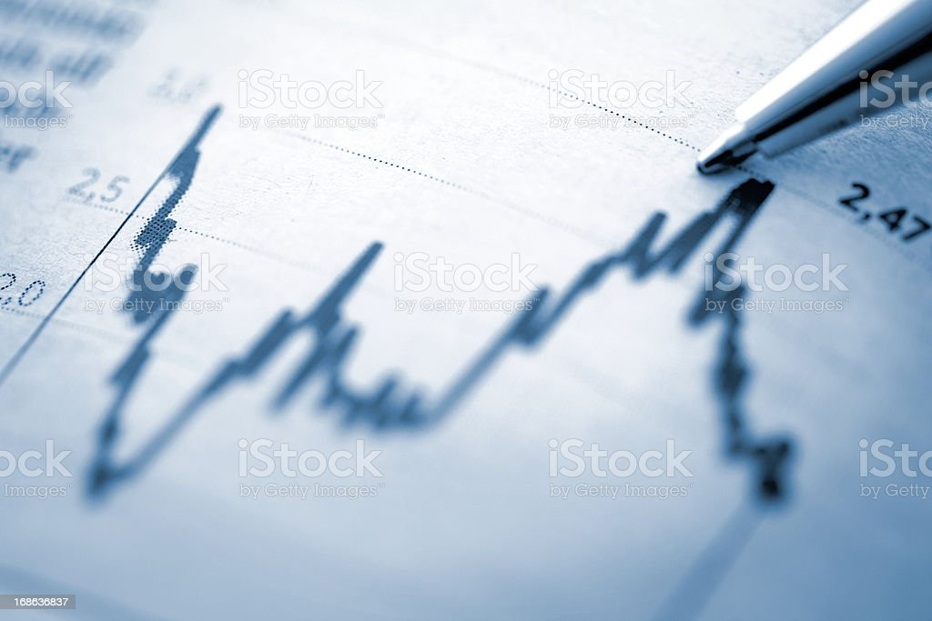 Finance chart with high peak on document stock photo
